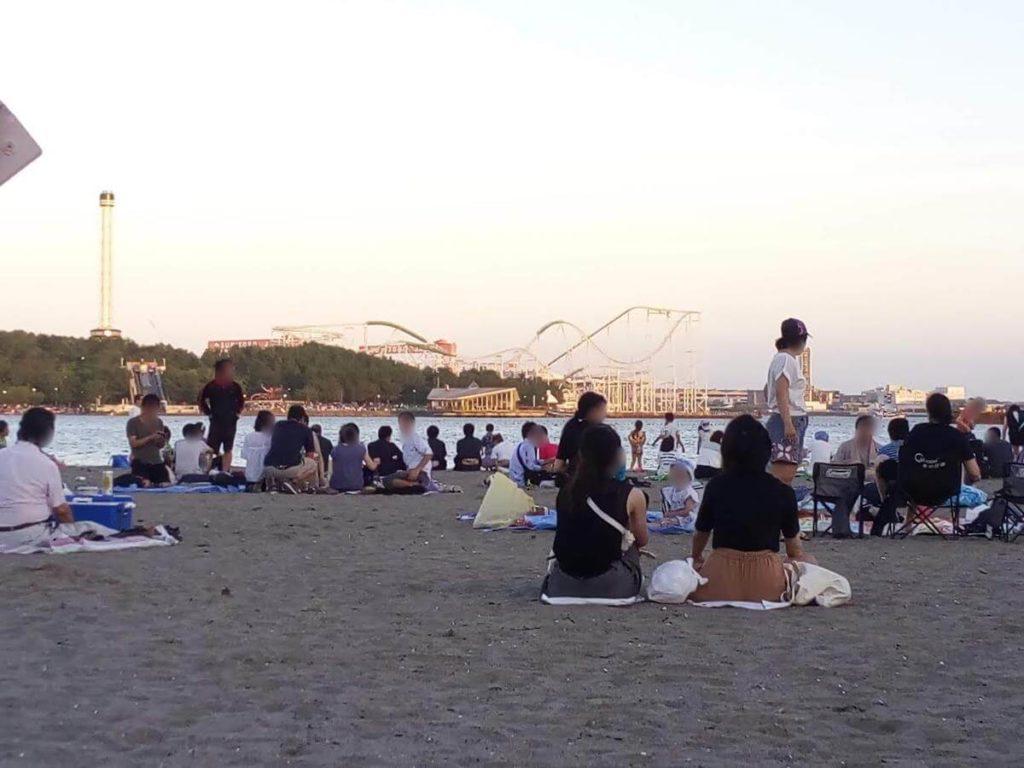 海の公園,花火大会,砂浜
